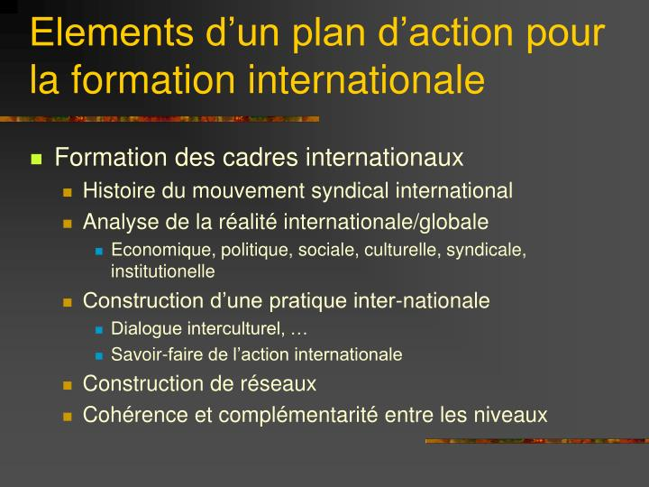 Elements d'un plan d'action pour la formation internationale