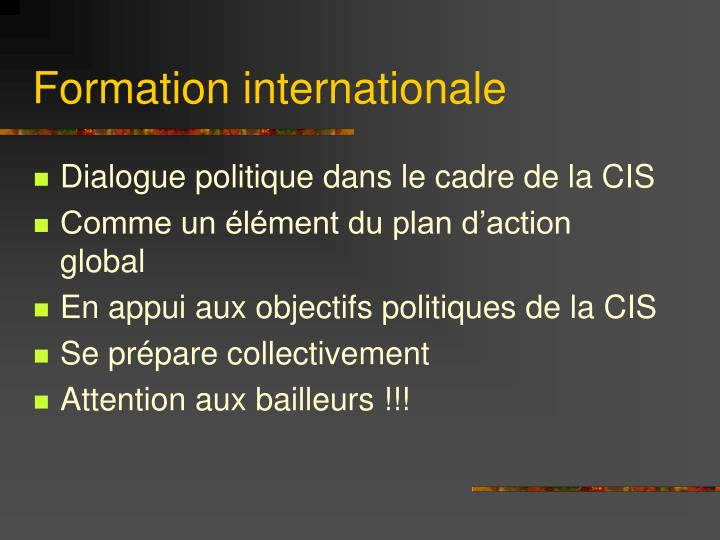 Formation internationale