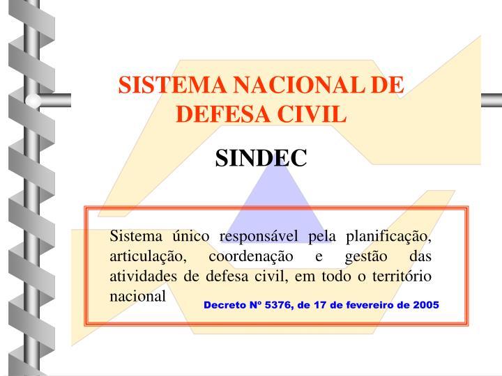 SISTEMA NACIONAL DE DEFESA CIVIL