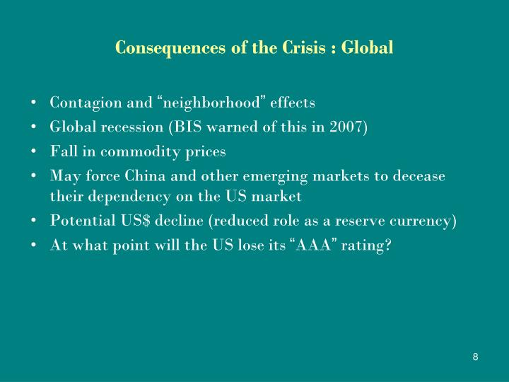 Consequences of the Crisis : Global