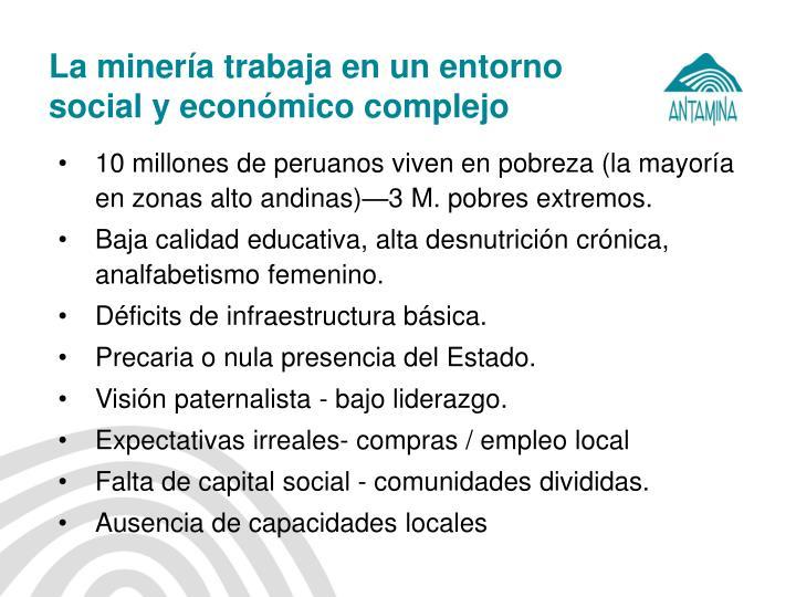 La minería trabaja en un entorno social y económico complejo