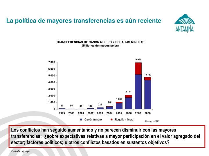 La política de mayores transferencias es aún reciente