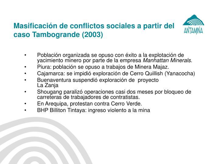 Masificación de conflictos sociales a partir del caso Tambogrande (2003)