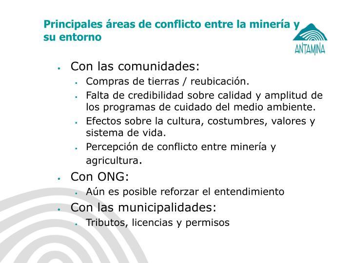 Principales áreas de conflicto entre la minería y su entorno