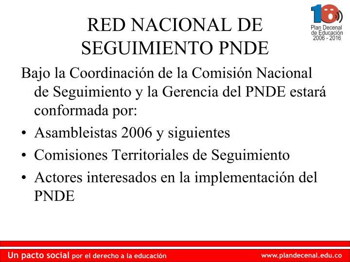 Bajo la Coordinación de la Comisión Nacional de Seguimiento y la Gerencia del PNDE estará conformada por: