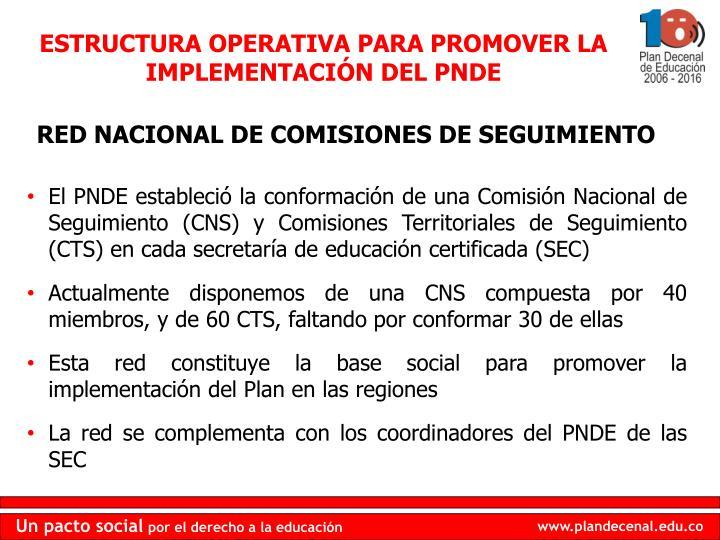 ESTRUCTURA OPERATIVA PARA PROMOVER LA IMPLEMENTACIÓN DEL PNDE