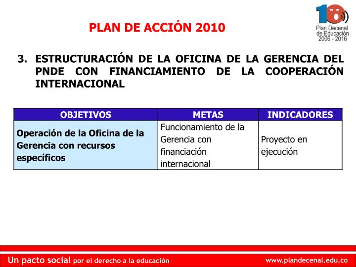 PLAN DE ACCIÓN 2010