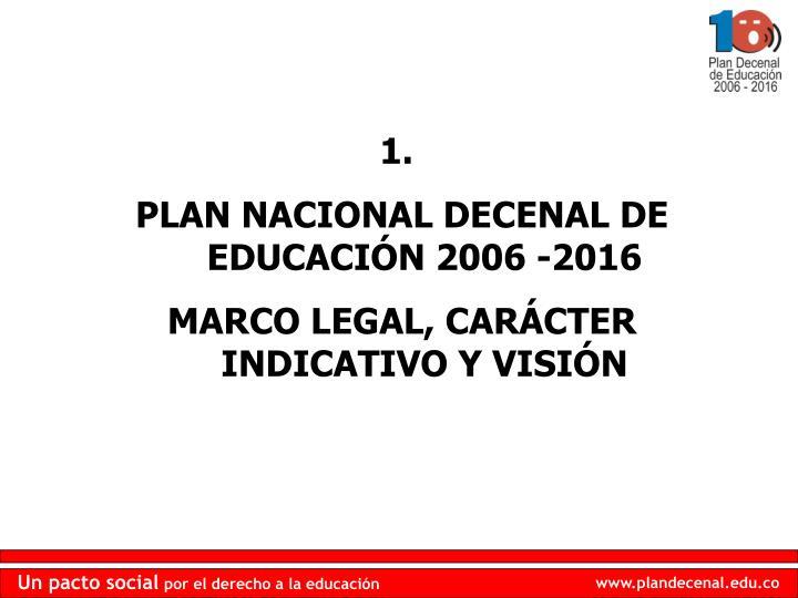 PLAN NACIONAL DECENAL DE EDUCACIÓN 2006 -2016