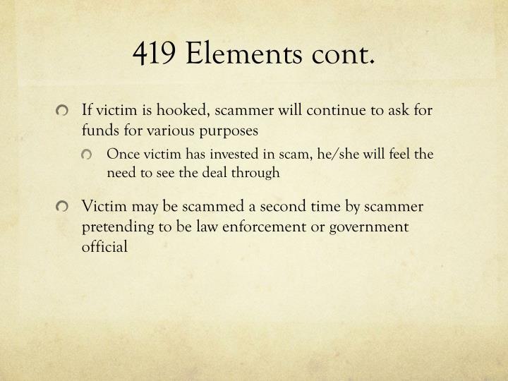 419 Elements cont.