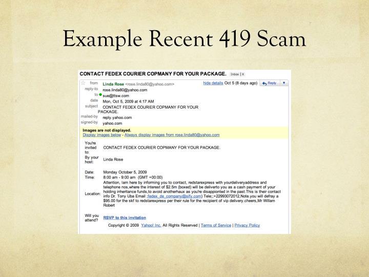 Example Recent 419 Scam