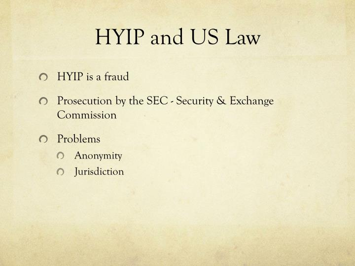 HYIP and US Law