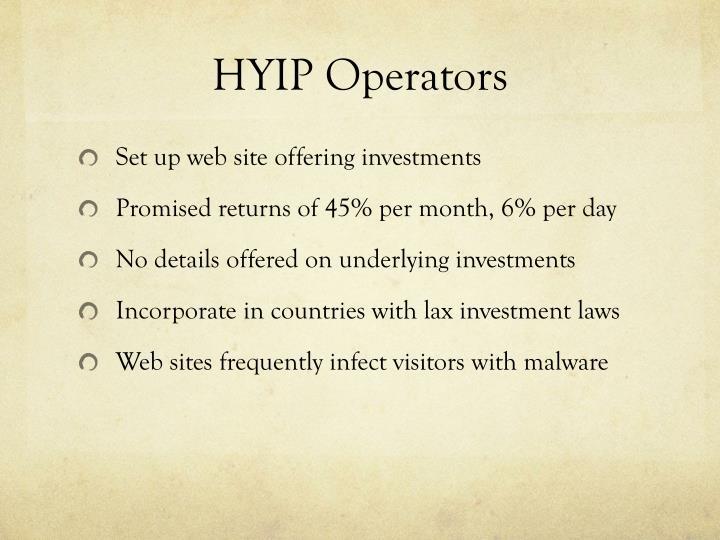 HYIP Operators