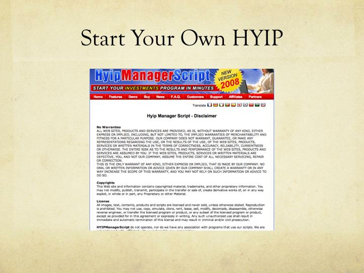 Start Your Own HYIP