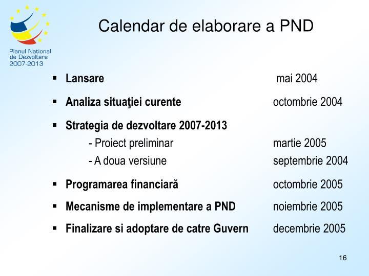 Calendar de elaborare a PND