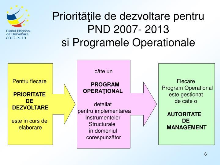 Priorităţile de dezvoltare pentru