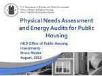 physical needs assessment and energy audits for public housing
