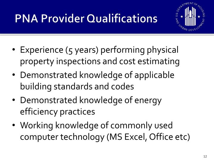 PNA Provider Qualifications