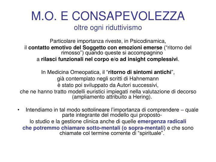 M.O. E CONSAPEVOLEZZA
