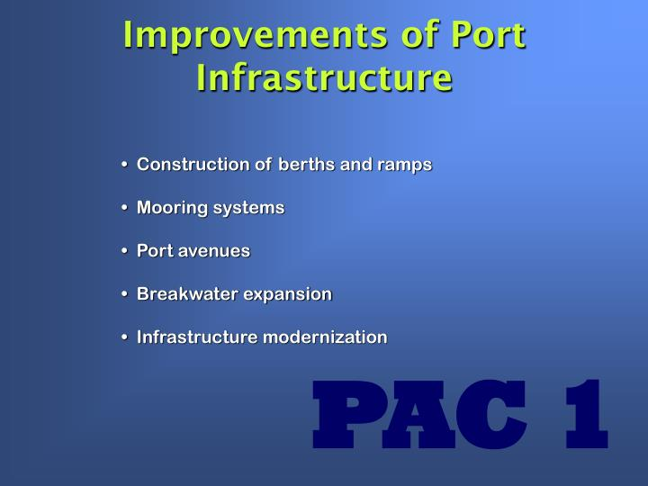 Improvements of Port Infrastructure