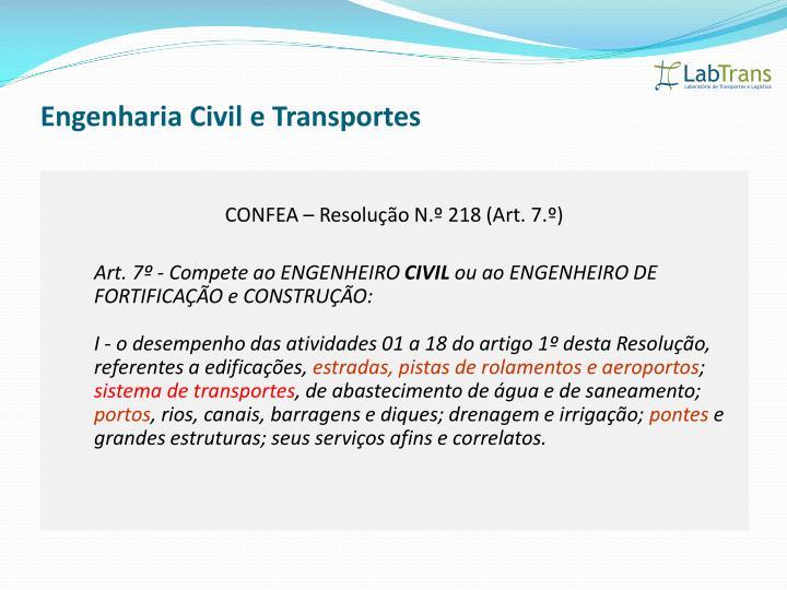 Engenharia Civil e Transportes