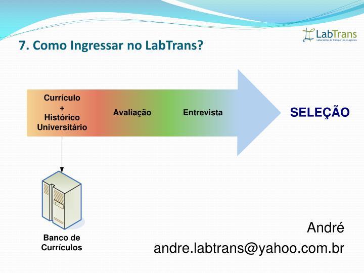 7. Como Ingressar no LabTrans?