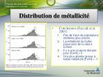 distribution de m tallicit7