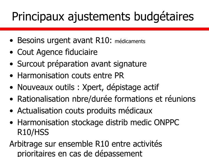 Principaux ajustements budgétaires