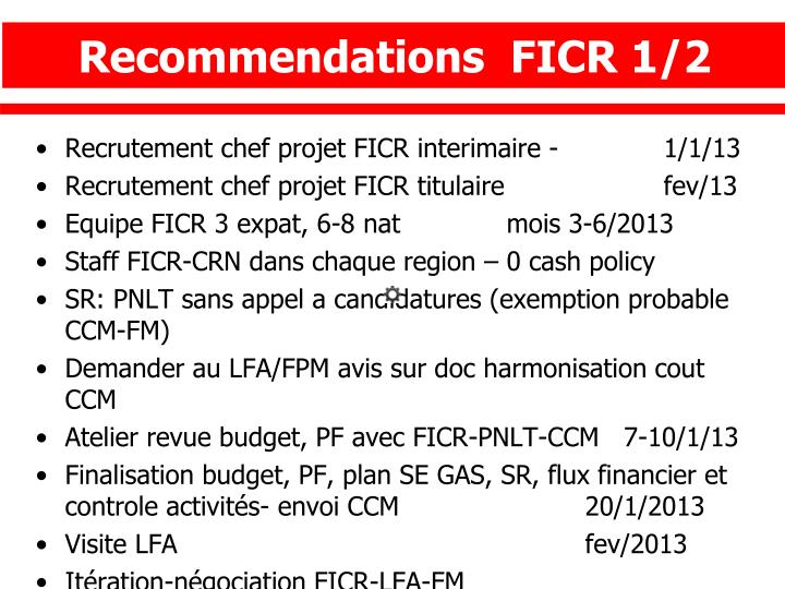 Recommendations  FICR 1/2