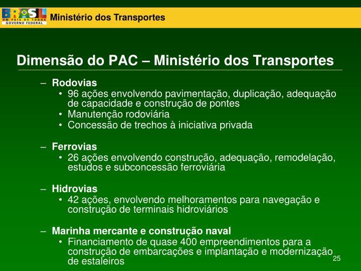 Dimensão do PAC – Ministério dos Transportes