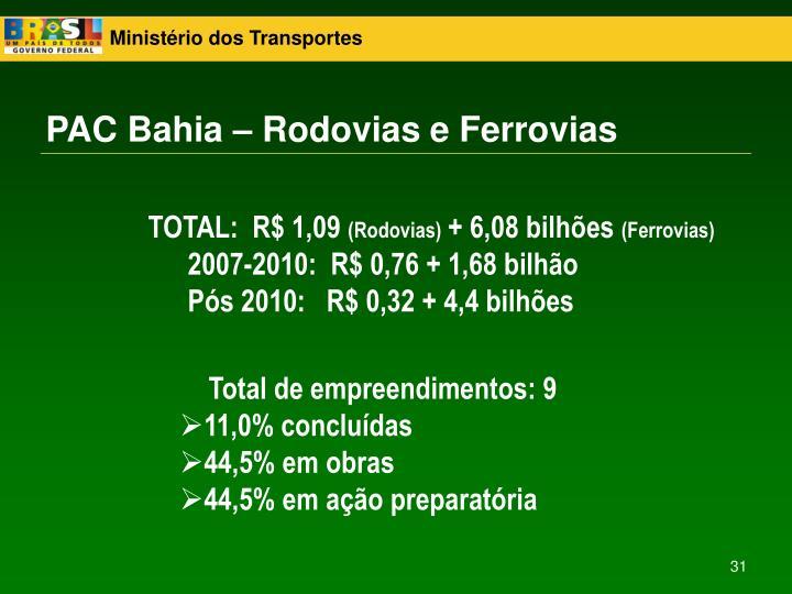 PAC Bahia – Rodovias e Ferrovias