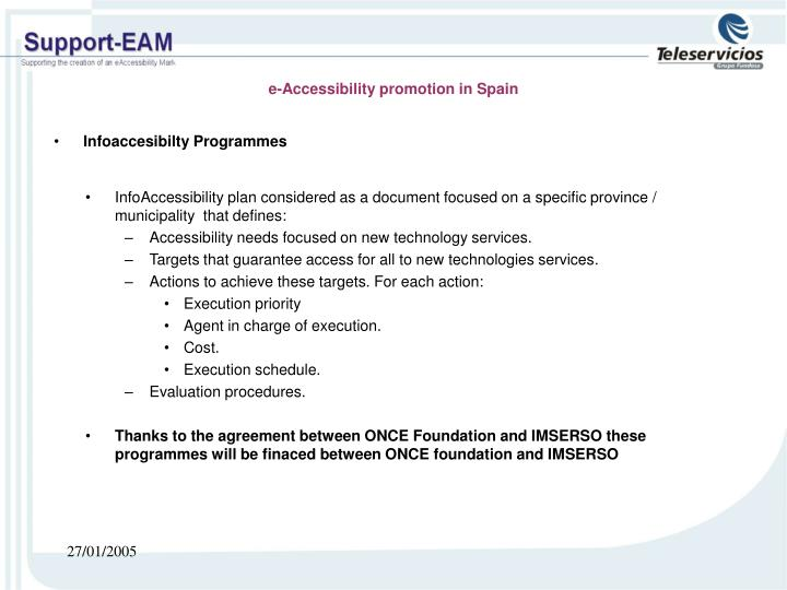 e-Accessibility promotion in Spain