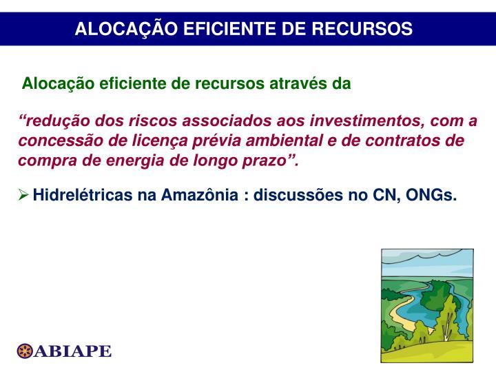 ALOCAÇÃO EFICIENTE DE RECURSOS