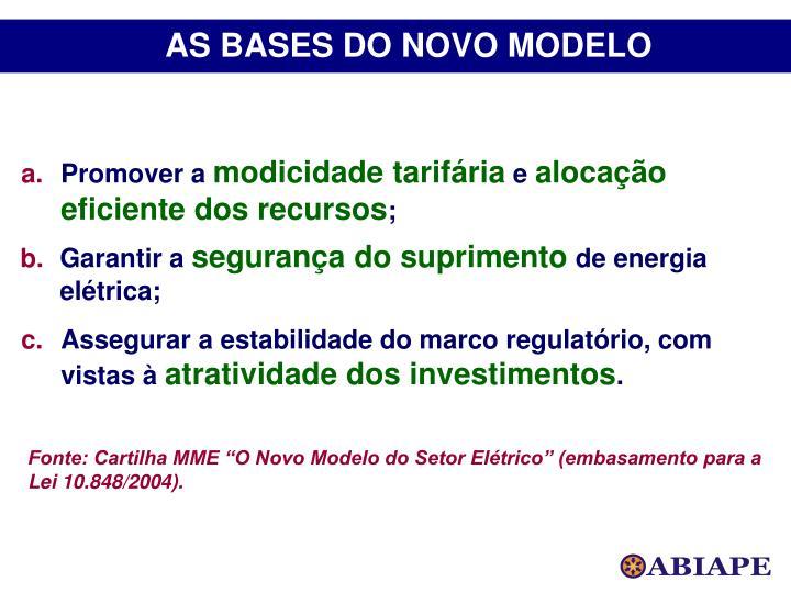 AS BASES DO NOVO MODELO
