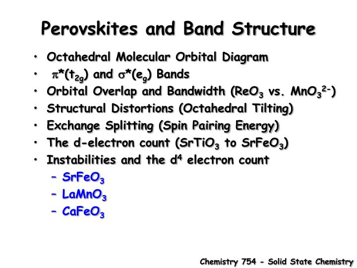 Perovskites and band structure