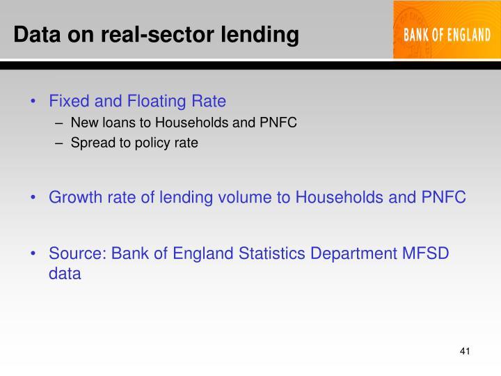 Data on real-sector lending