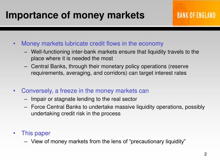 Importance of money markets