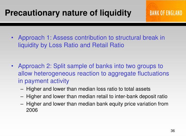 Precautionary nature of liquidity