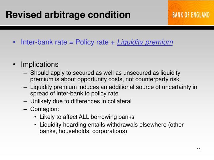Revised arbitrage condition
