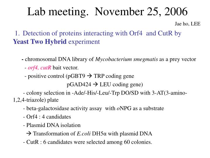 Lab meeting november 25 2006