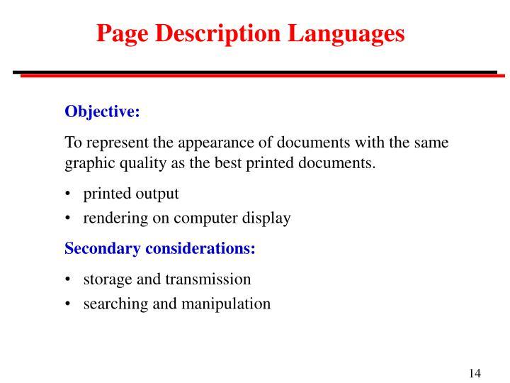 Page Description Languages