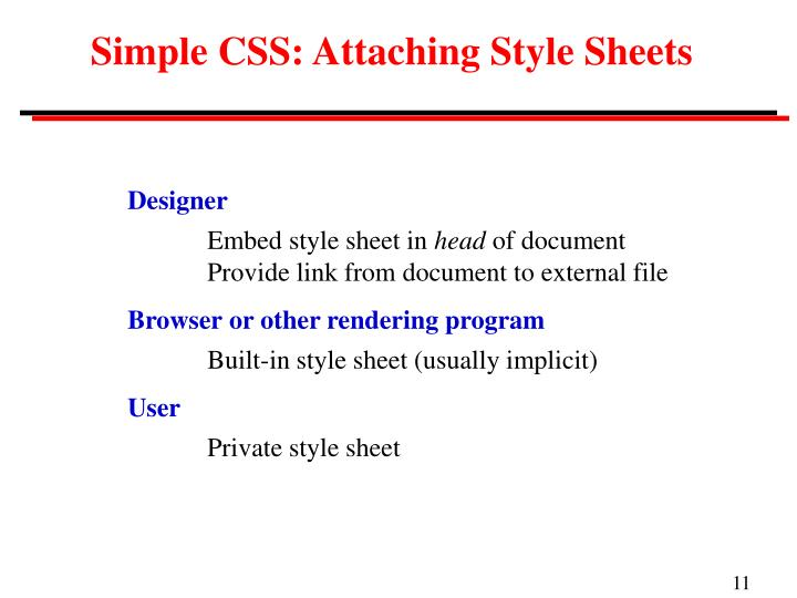 Simple CSS: Attaching Style Sheets
