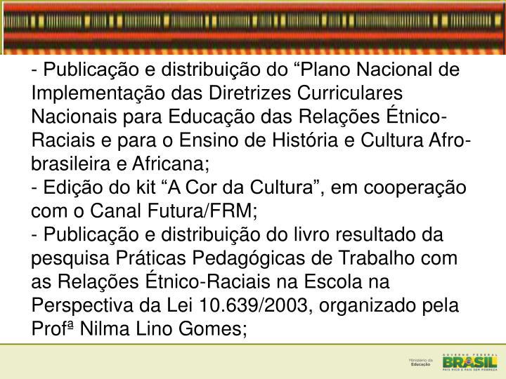 - Publicao e distribuio do Plano Nacional de Implementao das Diretrizes Curriculares Nacionais para Educao das Relaes tnico-Raciais e para o Ensino de Histria e Cultura Afro-brasileira e Africana;