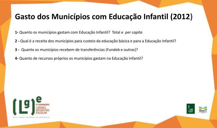 Gasto dos Municípios com Educação Infantil (2012