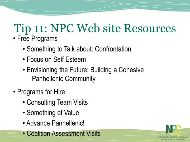 Tip 11: NPC Web site Resources