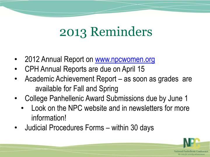 2013 Reminders