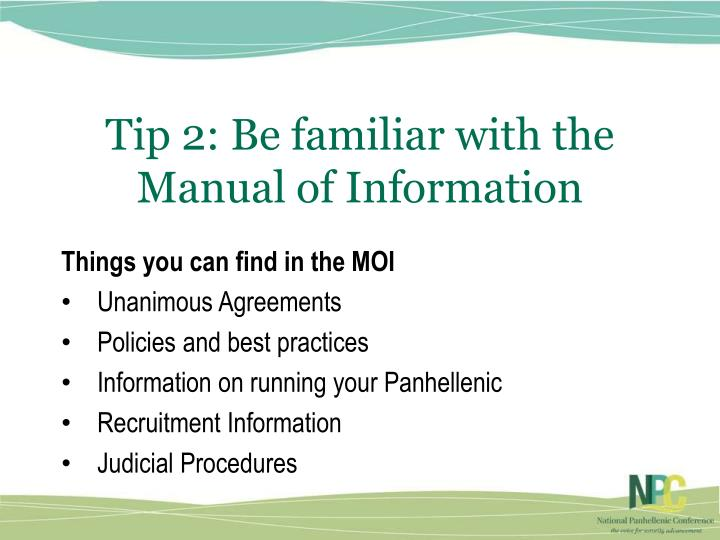 Tip 2: Be familiar with the Manual of Information