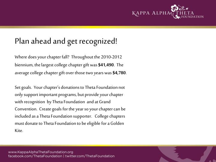 Plan ahead and get recognized!