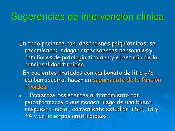 Sugerencias de intervención clínica