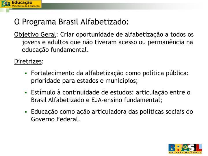 O Programa Brasil Alfabetizado:
