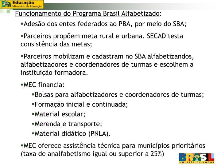 Funcionamento do Programa Brasil Alfabetizado